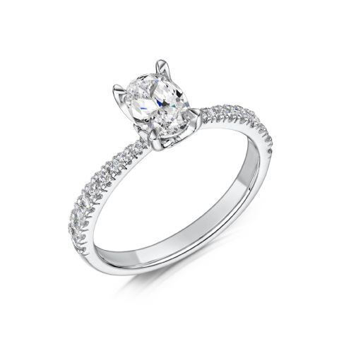 0.6 Carat GIA GVS Diamond solitaire 18ct White Gold. Oval diamond Engagement Ring, MWSS-1179/040